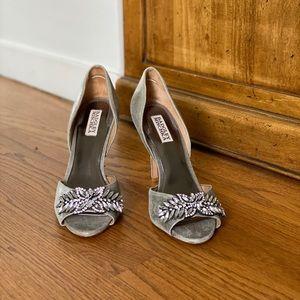 Badgely Mischka metallic embellished evening heel